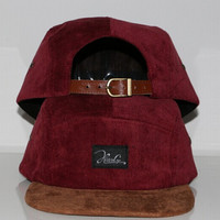 Win Red Custom Corduroy Hat with Seude brim Leather Strap 5 Panel Camp Hat