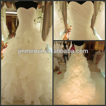 Miraculous pleat ruffles sweetheart lace up organza chapel train a-line wedding dresses with long trains