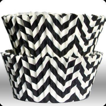 Chevron Zigzag Black Greaseproof Cupcake Liner Baking Cup