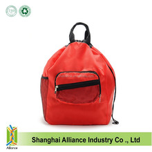 Red color nylon mesh large capacity foldable supermarket shopping bag