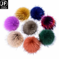 13cm Dyed Real Raccoon Fur Pom Pom Multi Colors Rainbow Fur Ball With stud For hat