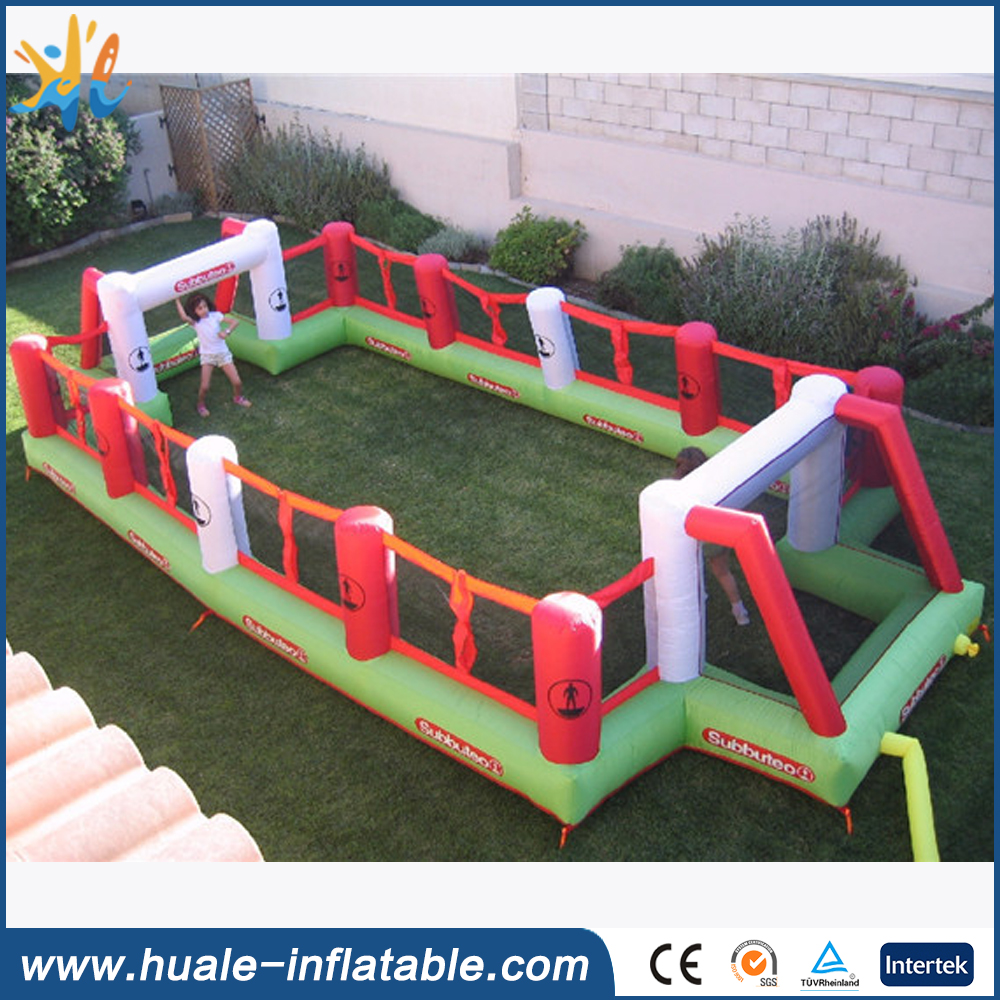 Hot sales inflatable water football pitch with net wall