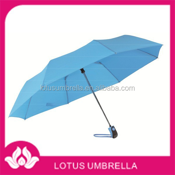 21''x8, metal shaft, nickel tips, fashion coloured, velcro fastener, 190T polyester Pongee automatic 3 fold umbrella