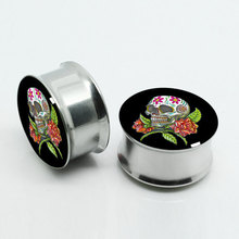 Surgar Skull and Rose Screw Fit Design 316L Surgical Steel Flesh Plug