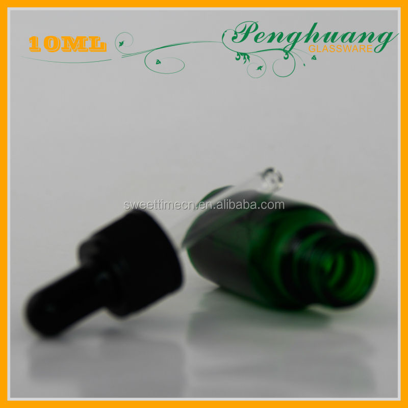 Green 10ml Rose Oil Bottle With Plastic Dropper And Black Rubber