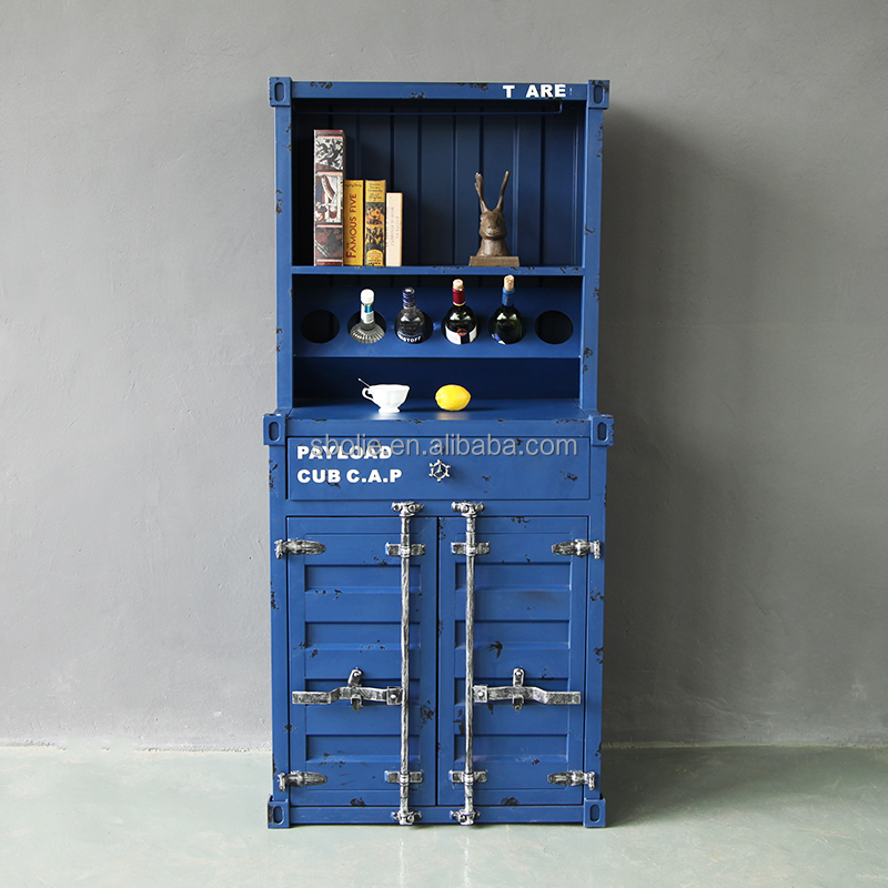 industrial home furniture metal container storage cabinet with wine rack