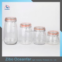 Hot Sale Glass Storage Jar Set 4 Sealing Glass Jar With Metal Clip