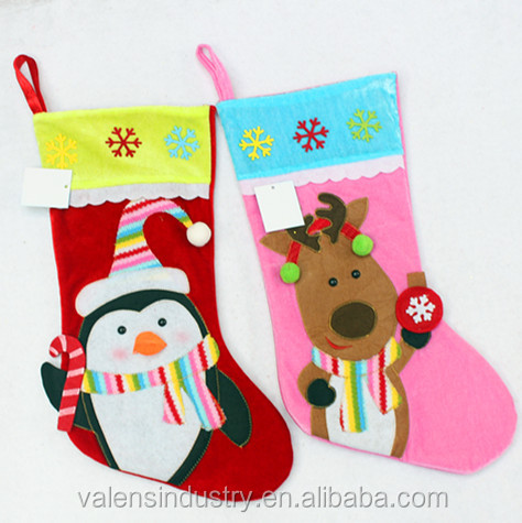 Factory Supply OEM Wholesale Fashion Santa Claus Animal Christmas stocking With Reindeer and Animal Design
