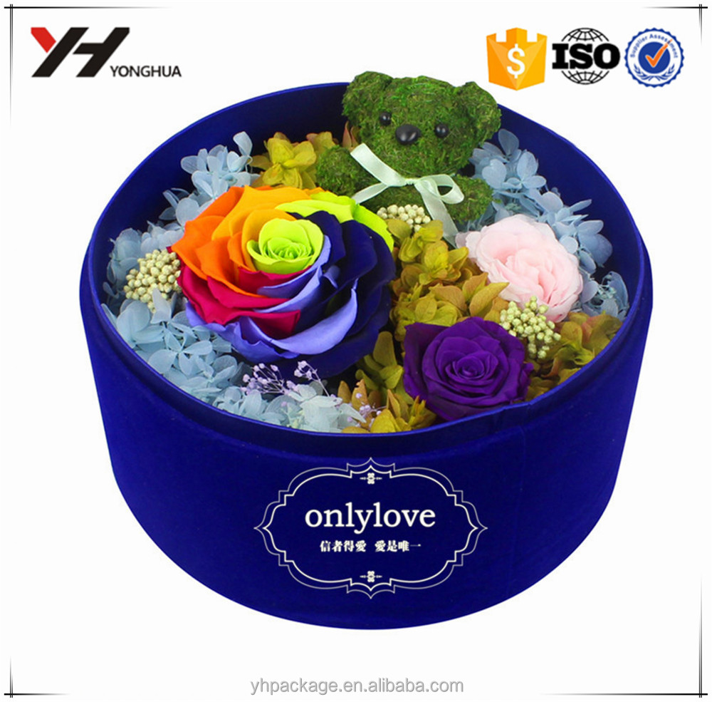 Cardboard tube rose packaging custom printing white paper round box for flowers