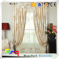 Vase design pure natural color silk look polyester curtain fabric- width 280cm, measure by height continuous