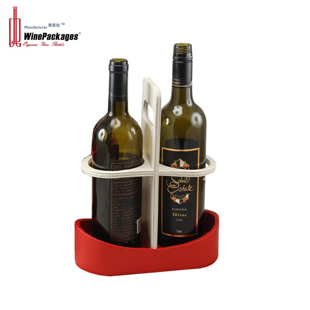 Portable leather two bottles wine display rack