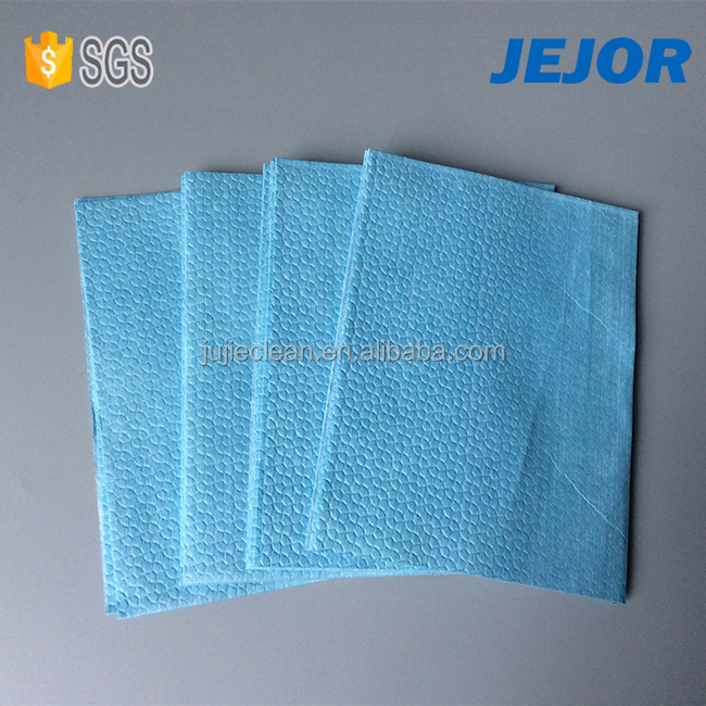 cellulose polyester 60gsm blue heavy duty disposable spunlace nonwoven fabric industrial wipes roll