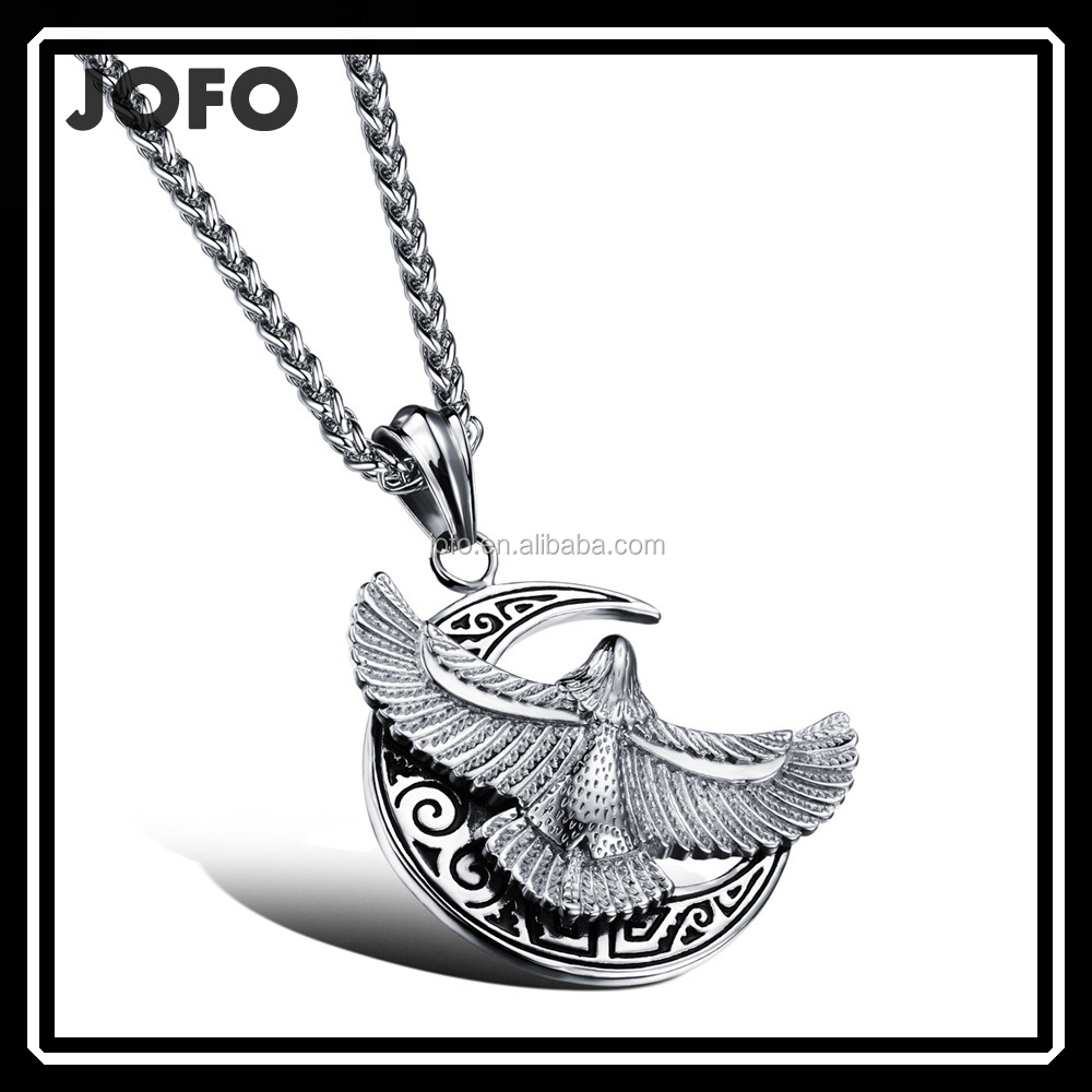 Classic Men Rock Punk Flying Eagle Moon 316L Stainless Steel Pendant Necklace Stainless Steel Silver Eagle Pendant