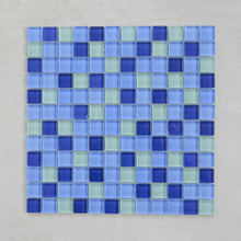 300x300mm blue crystal photoluminescent glass mosaic for swimming pool tile