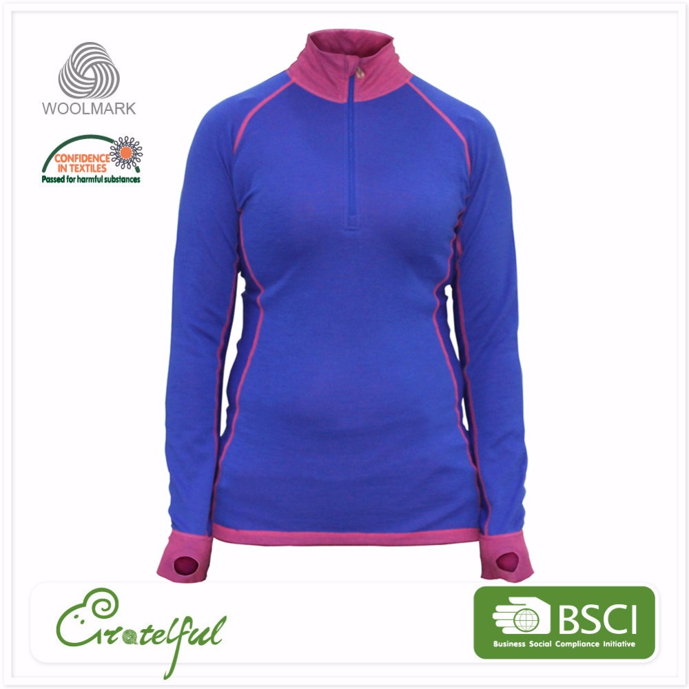 long sleeve womens thermal wholesale quarter zip up pullover sweatshirts without hoods