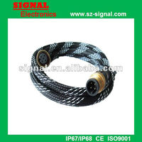 M12 5 pin male to female waterproof cable connector with nylon
