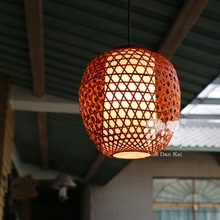 Vintage suspension rustic modern woven pendant lamp for home