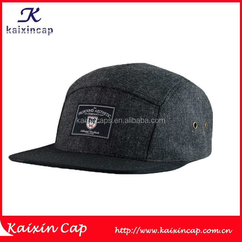 Custom Flax Fabric 5 Panel Hat And Cap Wholesale With Panda Pattern Woven Label On Front And Black Flat Brim Wholesale