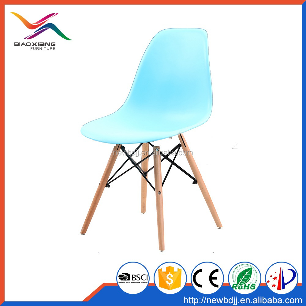 3V Plastic Chair,Shining Red Color Living Room Chair With Wood Leg