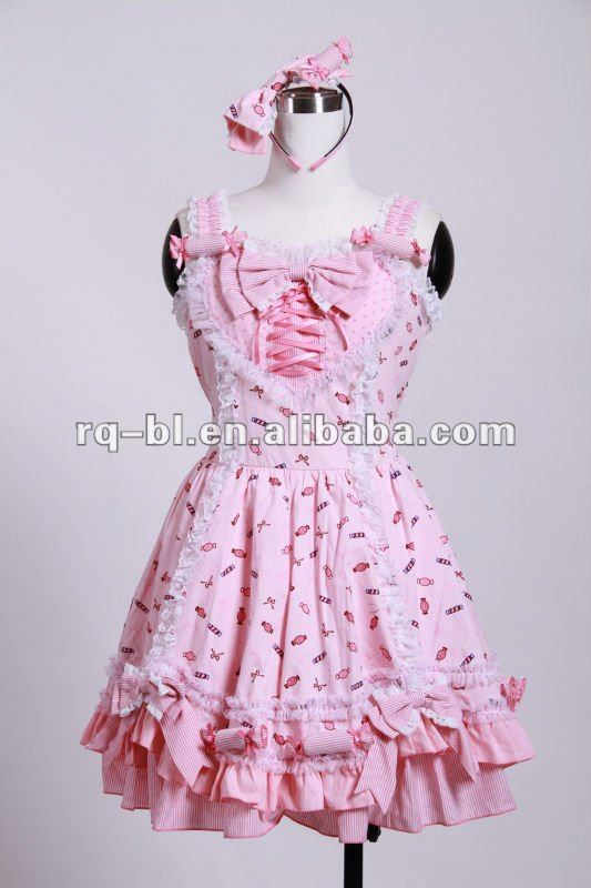 Lolita Gothic Dress with Shoulder Straps 71012BU from RQ-BL