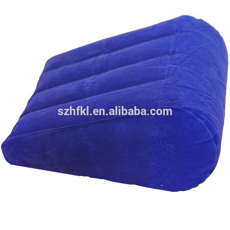 high quality flocking inflatable back and leg support wedge pillow in blue