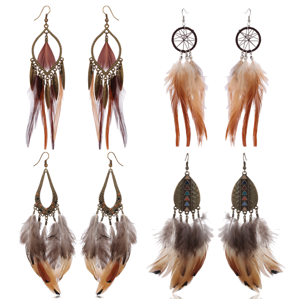 Multi Colors Gold Plating Feather <strong>Earring</strong> FE0005-A