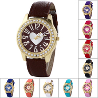 2015 Newest style Love Diamond Ladies Fashion Quartz Watches PU Strap Watchl Leather watch
