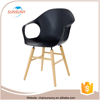 2016 popular simple style strong frame vendor dining chairs with armrest