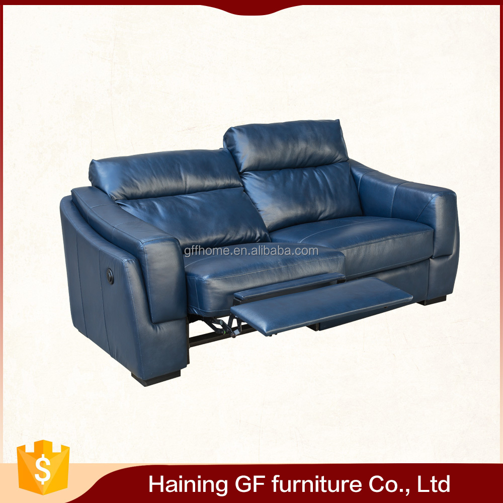 Comfort design blue italy leather sofa factory style leather recliner sofa set