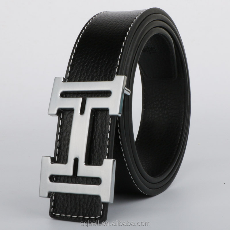 Custom logo fashionable style genuine leather flat buckle <strong>belt</strong> for men