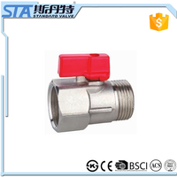 "ART.1074 1/4"" 3/8"" medium pressure brass ball valve and mini plastic handle one way motorized ball valve and CE cetificate"