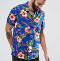 China factory Custom Summer Hot sale Men's Fashion Breathable Hawaiian Print Short Sleeve Shirt QR-3005
