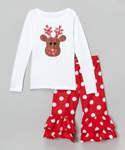 Christmas children boutique long sleeve deer pattern printing clothes and polka dot pants two pieces girls outfits