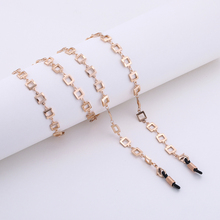 High Quality Fashion Women Copper Silver Plating Reading Metal Sunglasses EyeGlasses Glasses Square Chain Holder