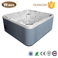 European style 6 people acrylic small rectangle outdoor portable spa water spray air jet massage hot tub with LED light