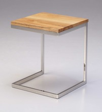 Modern Design Wooden Square Shaped End Table With Stainless Steel Frame For Living Room Furniture