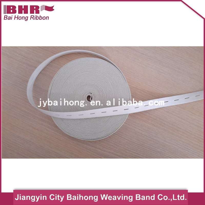 New button hole elastic ribbon with high quality