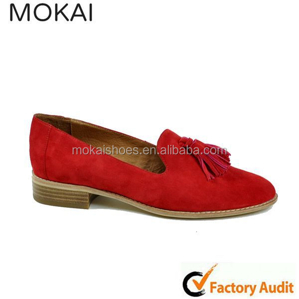 MK031-12 LT TAUPE popular red cow skin suede leather monochrome ladies shoes new design footwear for girls2015