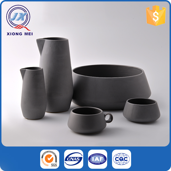 Best quality black matte color ceramic tableware restaurant wedding stoneware dinnerware set