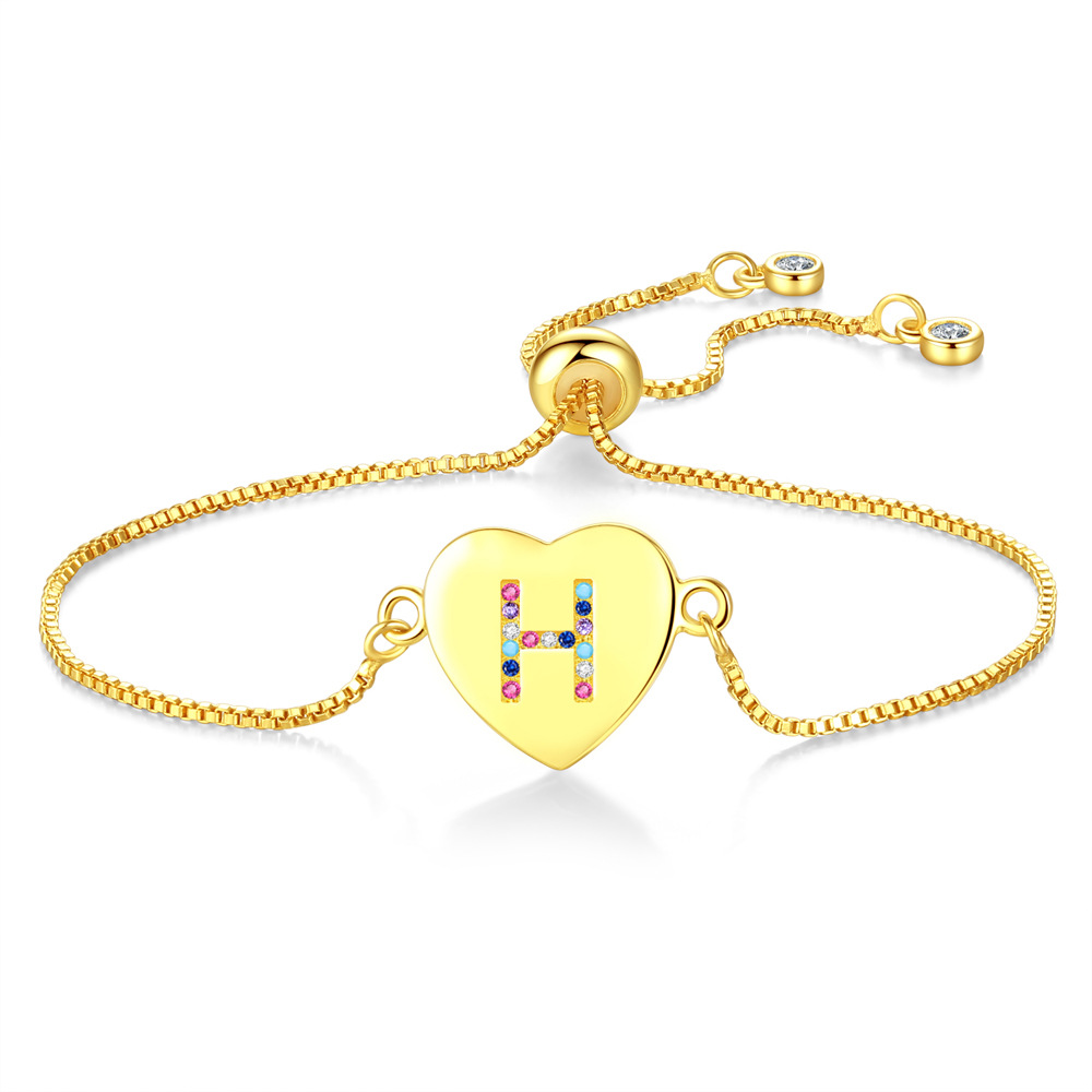 Amazon Colorful Zircon Adjustable Chain Bracelet Heart Charm 26 Gold Initial Letter <strong>H</strong> Bracelet