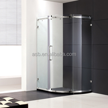 low cost slide system 6mm Tempered Glass piece shower door