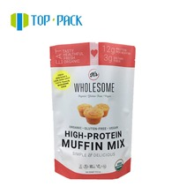 aluminum foil plastic whey protein stand up packing pouch with window zipper