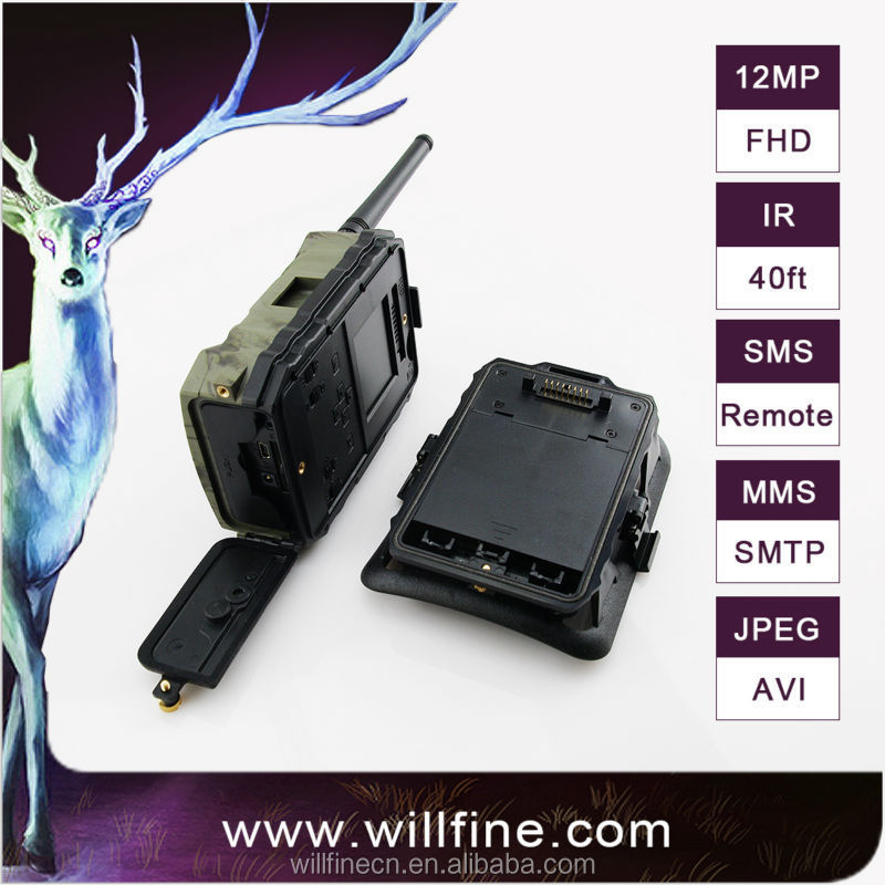 Hot wholesale 12mp night vision 3g sms mms wildlife security game trail camera