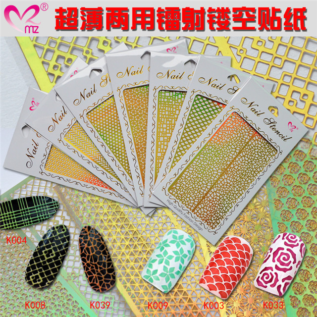 guangzhou meizi 2017 new sliver hollow nail stencil hollow nail stickers with factory price