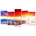 The Charming Sky Canvas Prints Winter Pine Tree Canvas Printing Snow Scenery Canvas Painting Wholesale 5-Panel