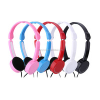 Factory wholesale Fancy Color Cheap fashion foldable 3.5mm Kids Headphones Wired earphones with Mic and Volume