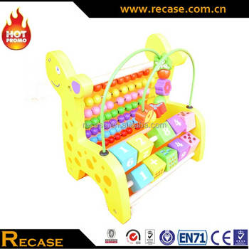 High Quality Baby Wooden Mini Around The Beads Wire Maze Intelligent Learning Game Educational Wooden Toys Giraffe