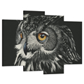Canvas Art Painting Owls Eyes Black Background Printed Canvas Modern Wall Picture for Living Room 4 Panels Hd Printed/Al10133