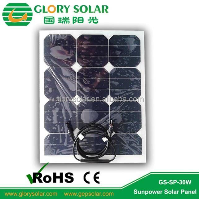 White Back Sheet Small Flexible 30W Solar Panel For Home