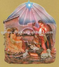 Religious figurine with optic fiber